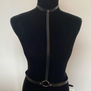 Other - Vegan leather choker collar/body harness